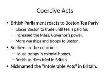 Coercive Acts Powerpoint