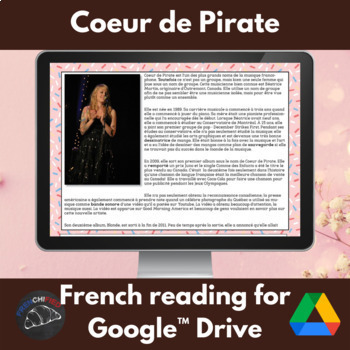 Coeur de Pirate - Google Drive edition - reading for French learners