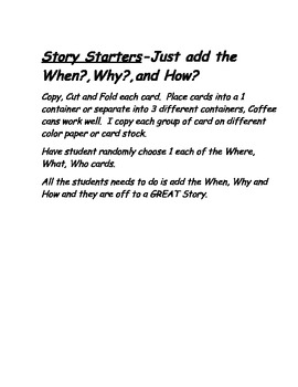 Coffee Can Story Starter Cards- Interactive and Engaging