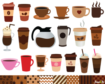 Coffee Clipart,Coffee Digital Papers,Backgrounds,Coffee im