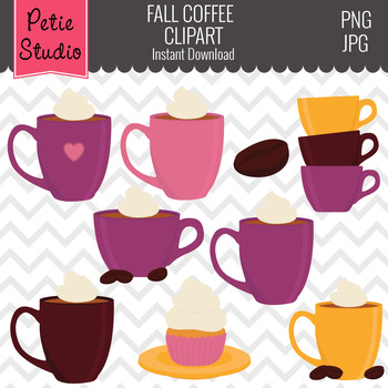 Coffee Clipart, Coffee with Whipped Cream, Cupcake Clipart - Objects121