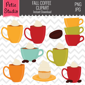 Coffee Clipart, Coffee with Whipped Cream, Mug Clipart - Fall133