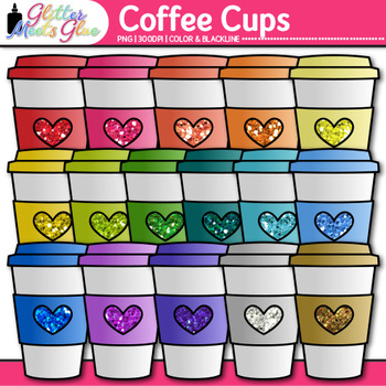 Cup of Coffee Clip Art | Travel Mug for Hot Chocolate and Digital Scrapbooking