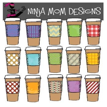 Coffee Cup Clip Art in Color and Black Line