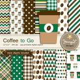 Coffee Cup digital paper and clipart