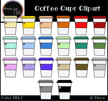 Coffee Cups Clipart / Coffee Clipart / Valentine's Day Clipart / Food Clipart