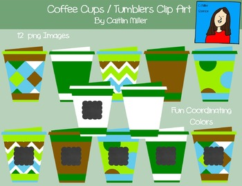 Coffee Cups Tumblers Clip Art