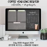 Coffee Desktop Organization Wallpaper + Calendar