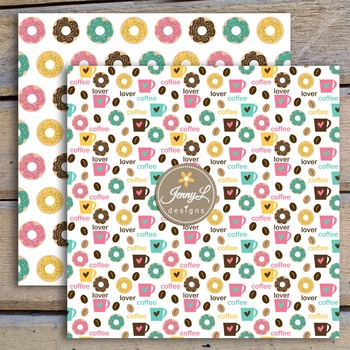 Coffee Donut digital paper and clipart