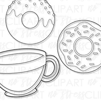 Coffee Donuts Clip Art (Digital Use Ok!)