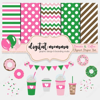 Coffee & Donuts Clipart & 12x12 Digital Paper Pack