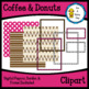 Coffee & Donuts Clipart-with digital papers, border & frame
