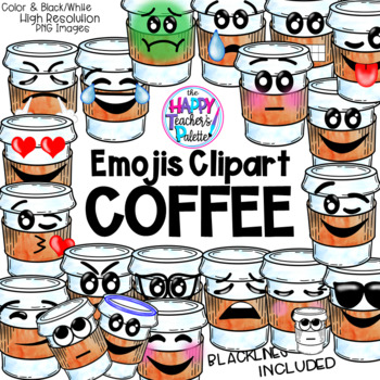 Coffee Emojis Clip Art Watercolor {The Happy Teacher's Palette Clip Art}