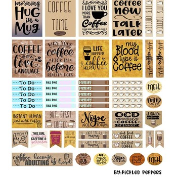 photograph about Happy Planner Printable identified as Espresso Content Planner Printable Sticker Web site