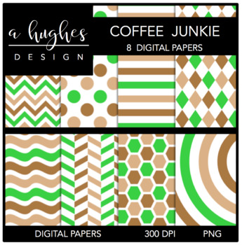 12x12 Digital Paper Set: Coffee Junkie {A Hughes Design}