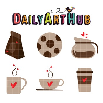 Coffee Love Clip Art - Great for Art Class Projects!