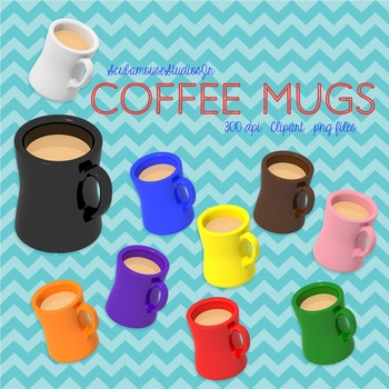 Coffee Mug Clipart, 10 Colorful Mugs with Liquid Inside