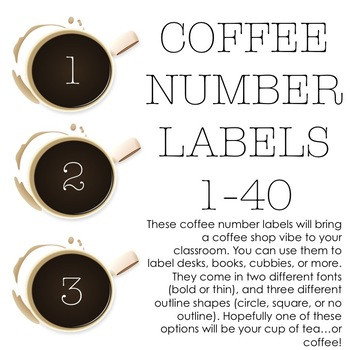 Coffee Number Labels (1-40)