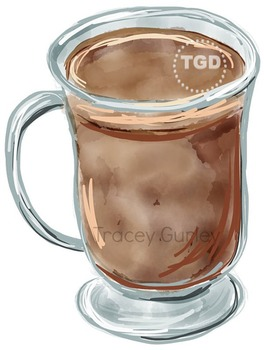 Coffee Painting, coffee clip art, Printable Tracey Gurley Designs