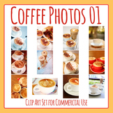 Coffee Photos / Cafe Beverages Photo / Photograph Clip Art Set Commercial Use