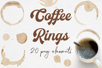Coffee Rings Clipart, Coffee Stains, Brown Coffee Splatters, Coffee Circles