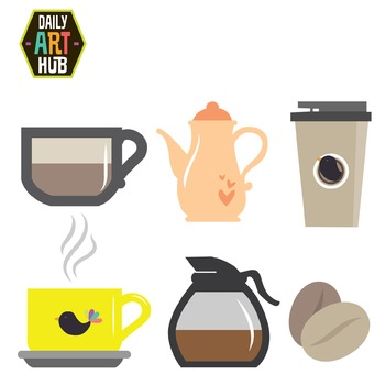 Coffee Set Clip Art - Great for Art Class Projects!