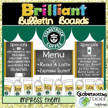 Bulletin Board Set- Starbucks Coffee Shop (Editable) with puns