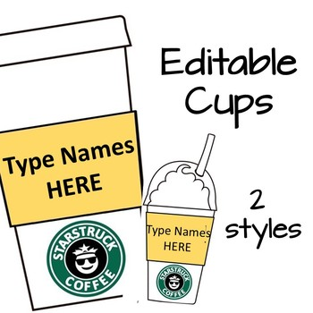 Bulletin Board Set Starbucks Coffee Shop (Editable) with puns