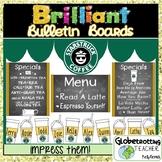 Starbucks Coffee Shop Theme Bulletin Board Set (Editable) with Puns