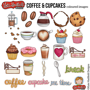 """Coffee Shop Clip Art: """"Coffee and Cupcakes"""""""
