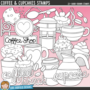 "Coffee Shop Clip Art: ""Coffee and Cupcakes"""