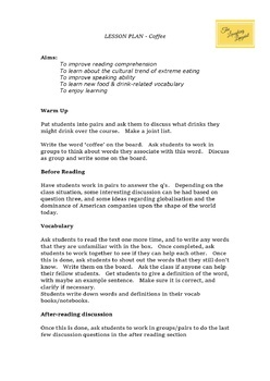 Coffee Shop Culture - ESL Readings & Worksheets with FULL lesson plan