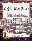Coffee Shop Decor: Editable Schedule Cards