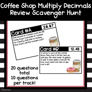 Coffee Shop Multiply Decimals Review Scavenger Hunt