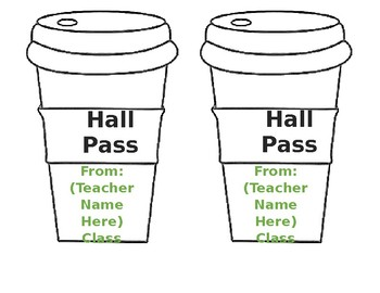Coffee Shop Themed Hall Passes