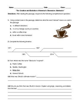 Coffee Themed Informational Text Unit: Read and Writing Tasks + Cross-Curricular