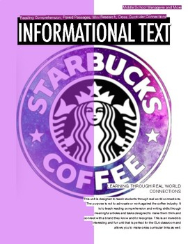 Coffee Themed Informational Text Unit: Read and Writing Ta