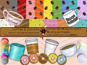 Coffee and Donuts - Clip Art and Digital Paper Pack
