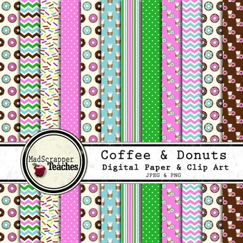 Coffee and Donuts Digital Paper Backgrounds and Clipart
