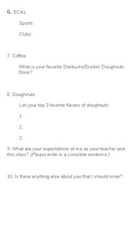 Coffee and Doughnuts: A First Day of School Survey For Students