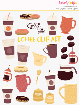 Coffee break clipart, caffeine drinks clip art (LC36)