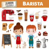 Coffee clipart Coffee shop clipart Barista clipart Cafe graphics Latte Cake