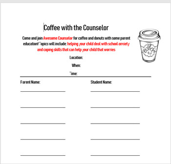 Coffee with the Counselor Flyer/Sign Up
