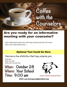 Coffee with the Counselor's Flyer Template - editable