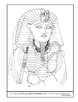 Coffin of Tutankhamen (detail).  Coloring page and lesson plan ideas