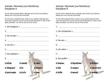 Cognate Vocabulary Builder: Mammals