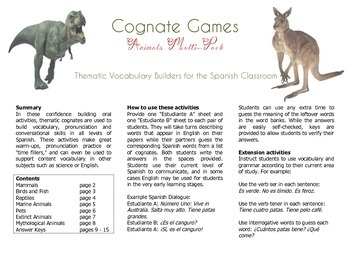 Cognate Vocabulary Builder: Animals Multi-Pack