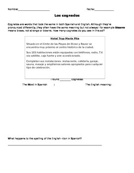 Cognate Worksheet