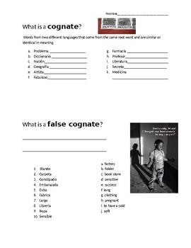 Cognate and False Cognate Worksheet