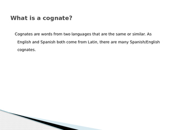 Spanish/English Cognates